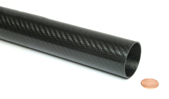 "Picture of Carbon Fiber Roll Wrapped Telescoping Twill Tube ~ 1.375"" ID x 96"", Gloss Finish"