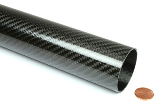 "Picture of Carbon Fiber Roll Wrapped Telescoping Twill Tube ~ 1.625"" ID x 48"", Gloss Finish"