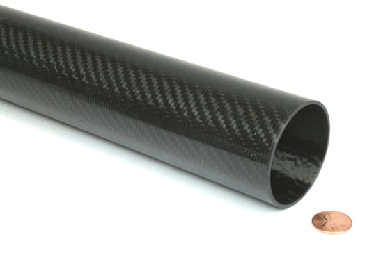 "Picture of Carbon Fiber Roll Wrapped Telescoping Twill Tube ~ 2"" ID x 24"", Gloss Finish"