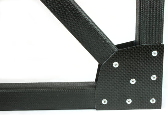 "Picture of 1"" Square Tube Carbon Fiber Gusset 2D 90° Corner w/45°"