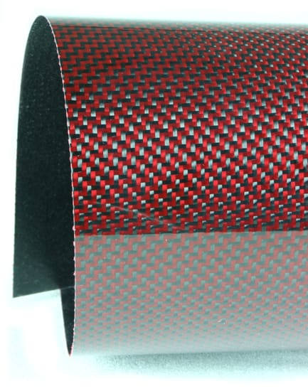 Twill Weave Carbon/Kevlar (red) Veneer