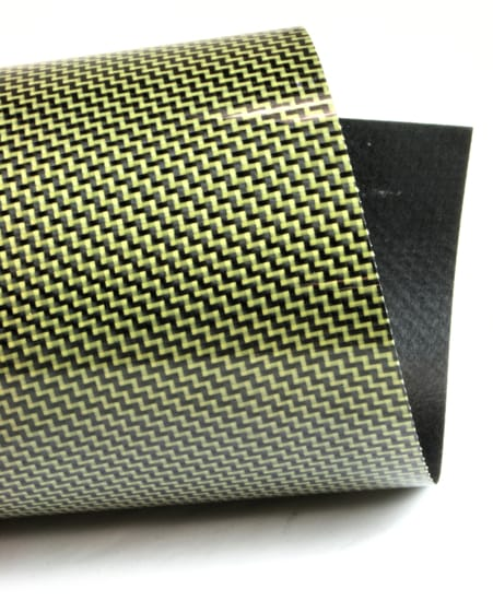 Twill Weave Carbon/Kevlar (yellow) Veneer