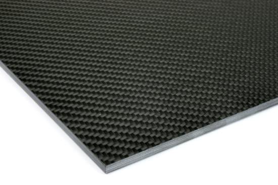 """0/90 Degree Carbon Fiber Twill/Uni Sheet ~ 3/16"""" x 24"""" x 24"""""""