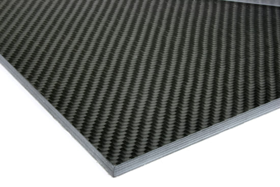 "0/90 Degree Carbon Fiber Twill/Uni Sheet ~ 1/4"" x 12"" x 12"""
