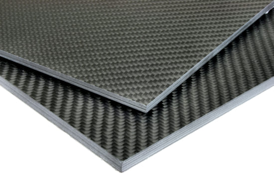 "0/90 Degree Carbon Fiber Twill/Uni Sheet ~ 3/8"" x 24"" x 24"""