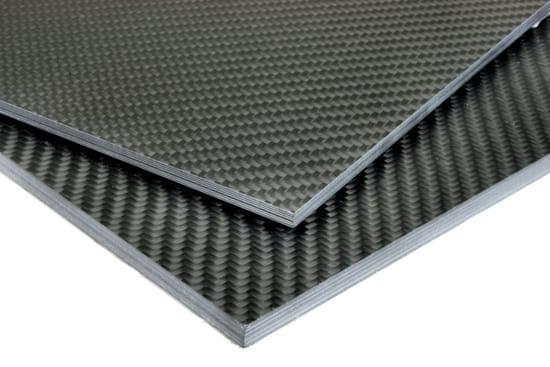 "Quasi-isotropic Carbon Fiber Twill/Uni Sheet ~ 1/2"" x 12"" x 12"""