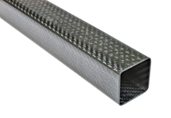 "Carbon Fiber Roll Wrapped Twill Square Tube ~ 1.5"" ID x 1.5"" ID x 24"""