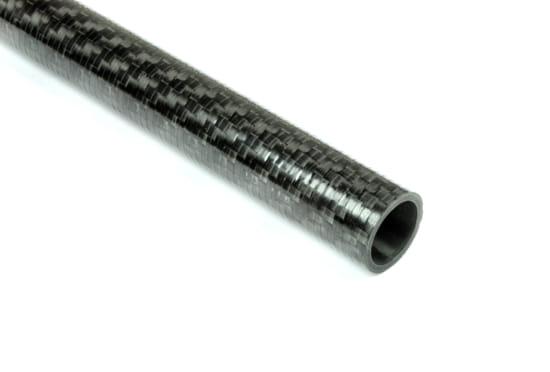 "Carbon Fiber Roll Wrapped Twill Tube ~ 0.5"" ID x 48"", Gloss Finish"