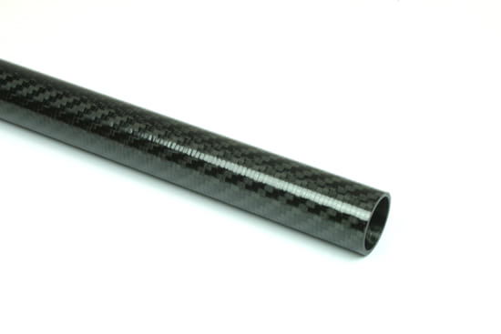 "Carbon Fiber Roll Wrapped Twill Tube ~ 0.875"" ID x 96"", Gloss Finish"
