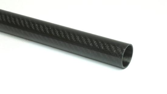 "Carbon Fiber Roll Wrapped Twill Tube ~ 1"" ID x 48"", Gloss Finish"