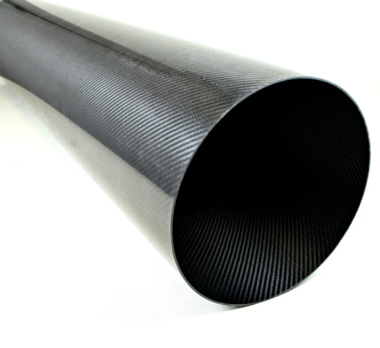 "Carbon Fiber Roll Wrapped Twill Tube ~ 10"" ID x 48"", Gloss Finish"