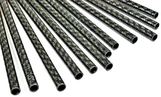 "Carbon Fiber Roll Wrapped Twill Tube ~ 10mm ID x 24"", Thin Wall Gloss Finish"