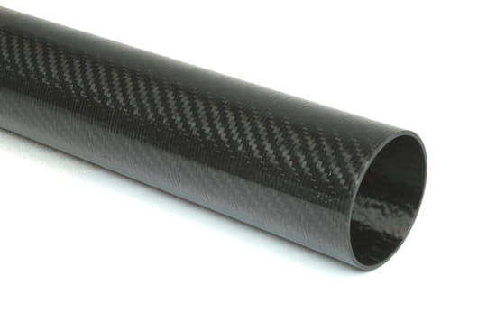 "Carbon Fiber Roll Wrapped Twill Tube ~ 2"" ID x 96"", Thin Wall Gloss Finish"