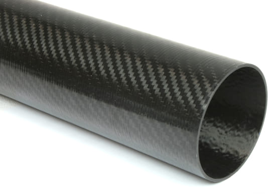 "Carbon Fiber Roll Wrapped Twill Tube ~ 3.438"" ID x 96"", Gloss Finish"