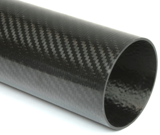 "Carbon Fiber Roll Wrapped Twill Tube ~ 4"" ID x 96"", Thin Wall Gloss Finish"