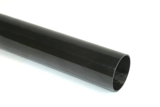 "Carbon Fiber Roll Wrapped Uni Tube ~ 1.5"" ID x 24"", Gloss Finish"