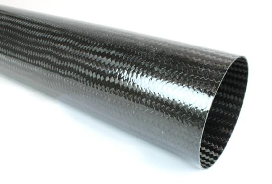 "Braided Carbon Fiber Round Tubing ~ 4"" ID x 24"""