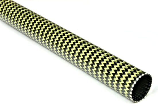 "EconomyTube™ Braided Carbon/Yellow Kevlar Round Tubing ~ 0.75"" ID x 96"""
