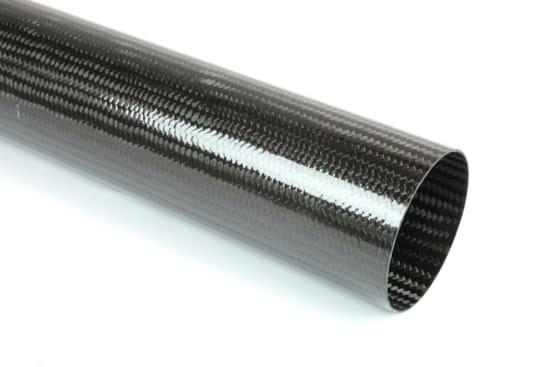 "Braided Carbon Fiber Round Tubing ~ 2.5"" ID x 24"""