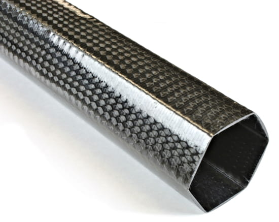"2"" Braided Carbon Fiber Hexagonal Tube"
