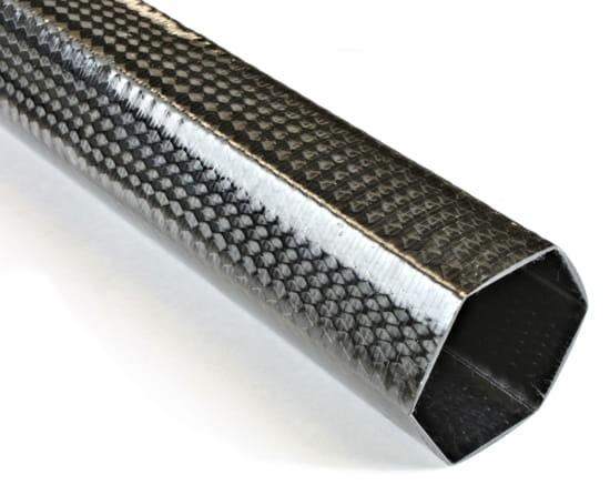 "2"" Braided Carbon Fiber Hexagonal Tube"