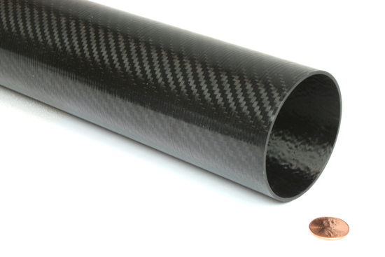 """Picture of Carbon Fiber Roll Wrapped Telescoping Twill Tube ~ 2.5"""" ID x 72"""", Gloss Finish"""